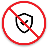 Shield with diagonal red line across it to indicate the risk of falling prey to hackers