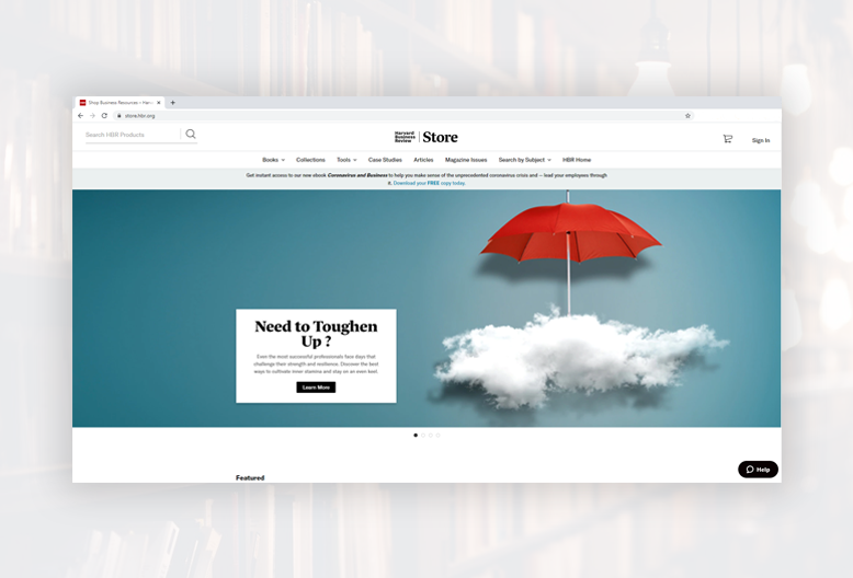 Screenshot of the Harvard Business Review website homepage