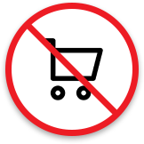 Shopping cart with diagonal red line across it to indicate the risk of losing PCI compliance
